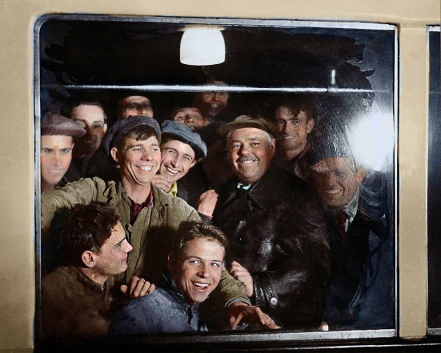 Первые пассажиры московского метро, 1935 год