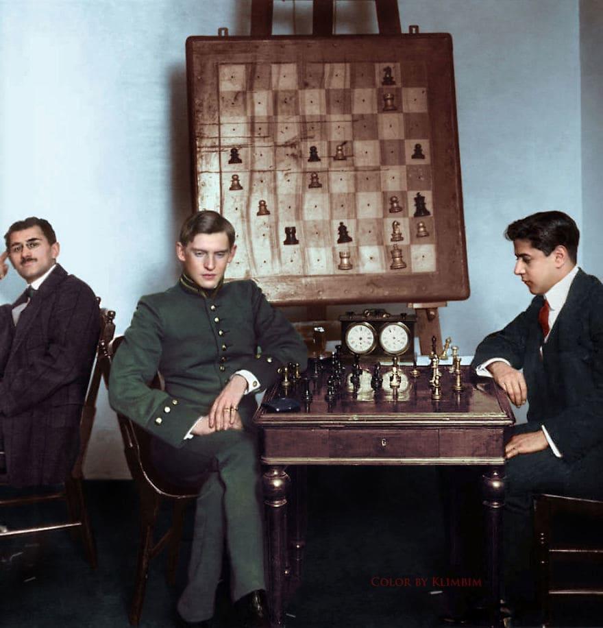 Хосе Рауль Капабланка в шахматном матче против Александра Алёхина, 1913 год
