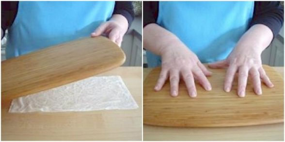 9. Чтобы разделочная доска не каталась по столу, подложите под нее влажное бумажное полотенце.