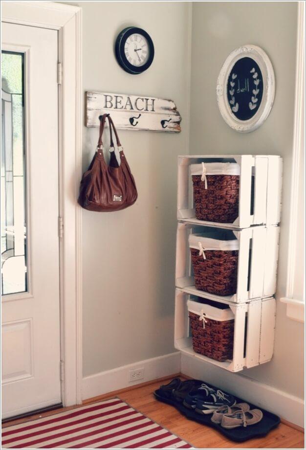 10. Создайте кубики для хранения с помощью рециркулированных деревянных ящиков.