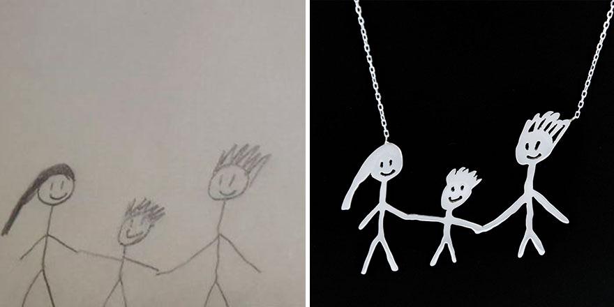 Ювелирные украшения из детских рисунков