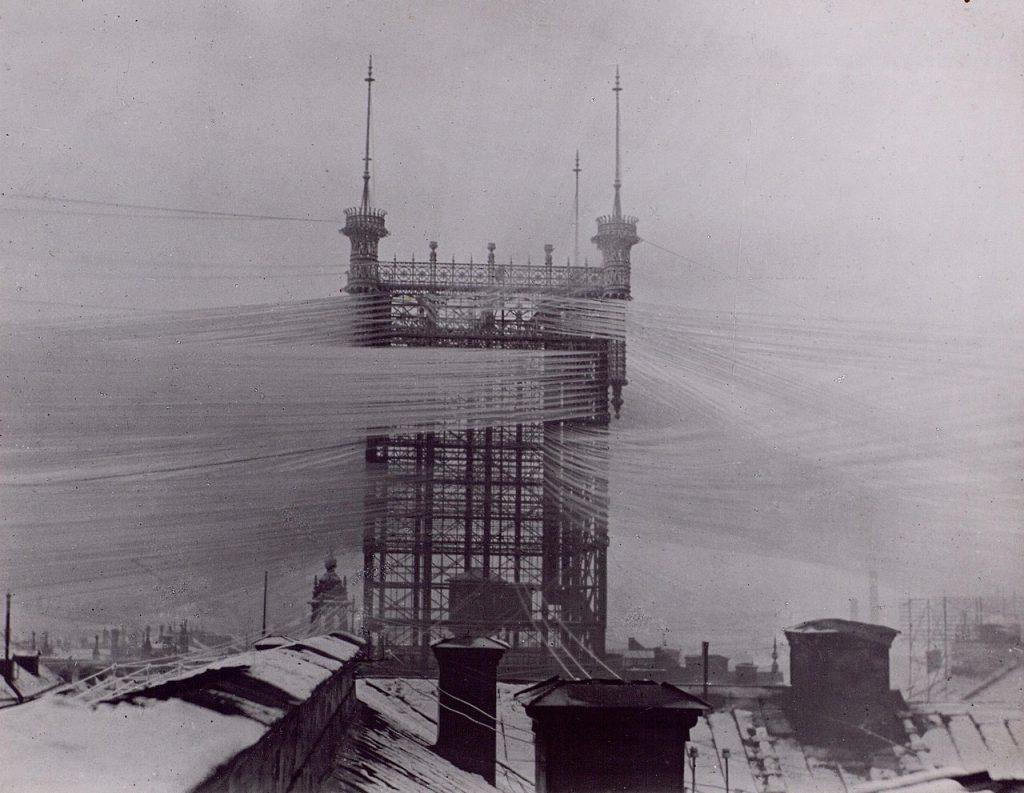 Старинная телефонная башня в Стокгольме, 1890.
