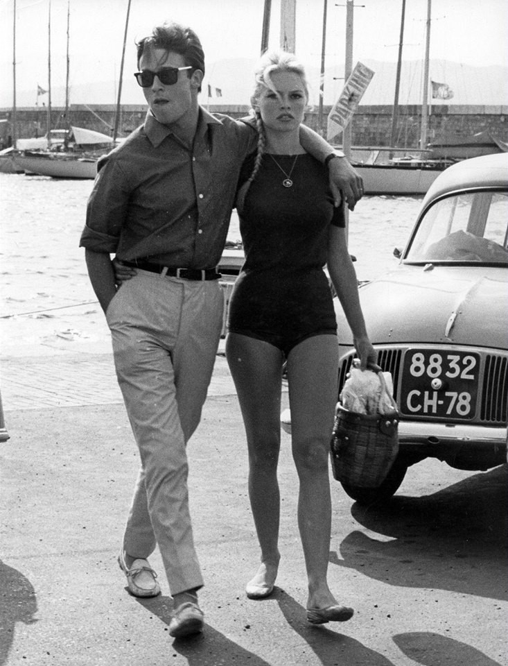 Ален Делон и Бриджит Бардо круто выглядят, 1968.
