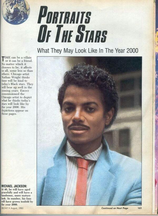 Журнал предполагает, что так Майкл Джексон будет выглядеть в 2000 году, 1985. (Портреты звезд. Как будет выглядеть Джексон в 2000 году)