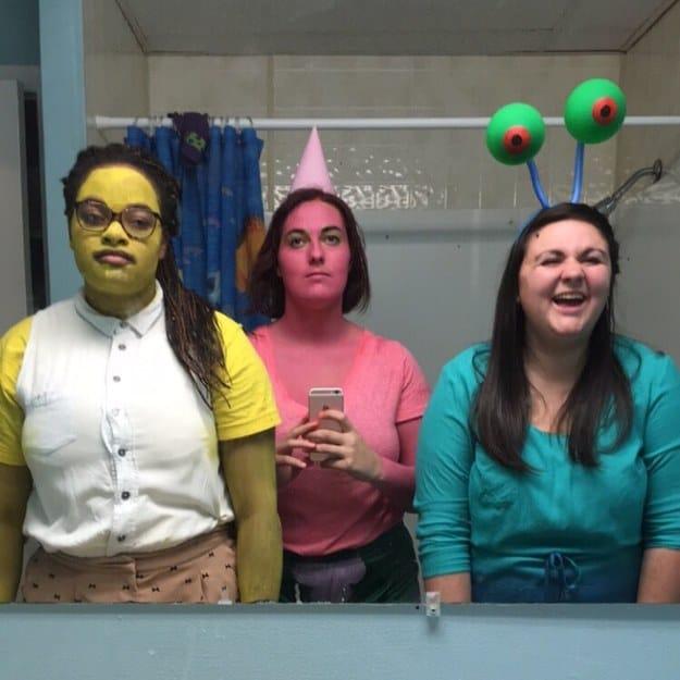 В общем, мы с подругами решили воспроизвести Спанч Боба, Патрика и Гэри
