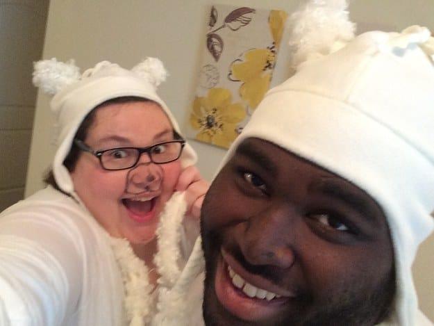 По задумке мы должны были быть двумя альпаками, но получились какие-то банальные белые мишки