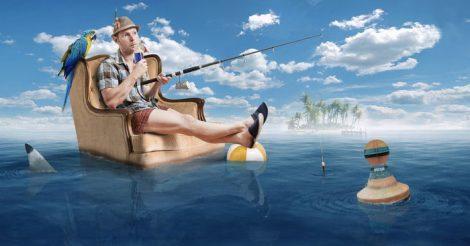муж на рыбалке