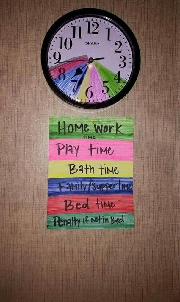 10. Помогите ребенку запомнить его график с помощью цветовых отметок прямо на часах.