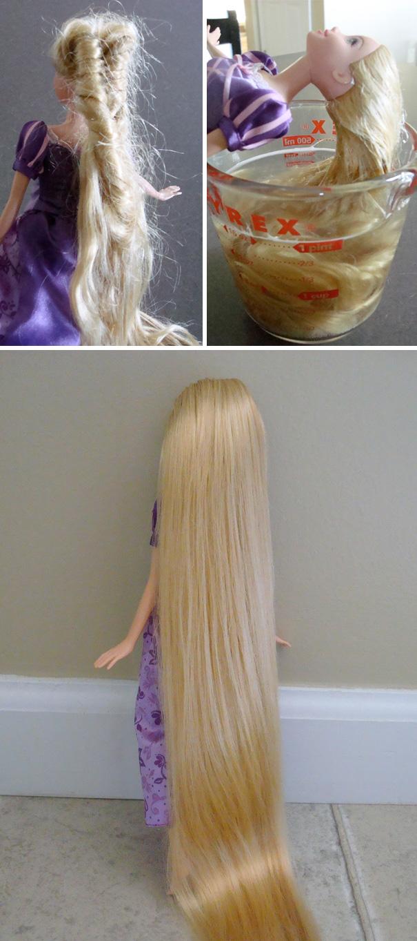 15. Распутать волосы куклы можно при помощи мыла и кондиционера для волос.