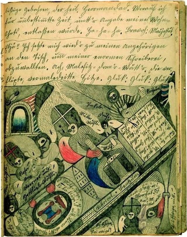 6. Адольф Вёльфли принялся писать свою автобиографию объемом более 25 000 страниц, содержащую 3000 иллюстраций. К концу жизни автора ее текст составил 45 томов, а содержание включало в себя рисунки, стихи, тексты, ноты.