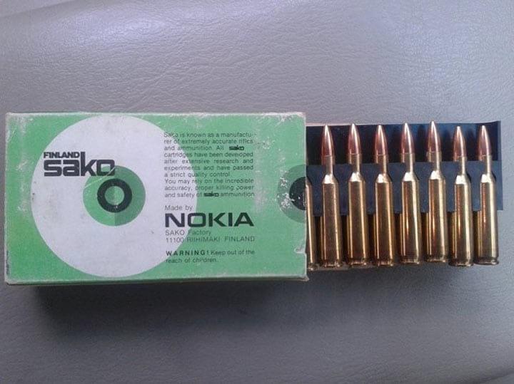 Так выглядела первая продукция Nokia… Это были патроны!