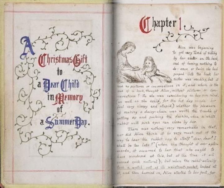 Так выглядит рукопись книги «Алиса в стране чудес»