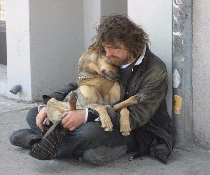 Собака на руках у своего хозяина. Их связь прочна и долговечна, несмотря на то, что хозяину нечем кормить животное