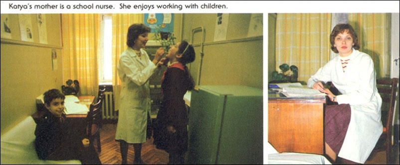 Катина мама — школьная медсестра. Ей нравится работать с детьми.