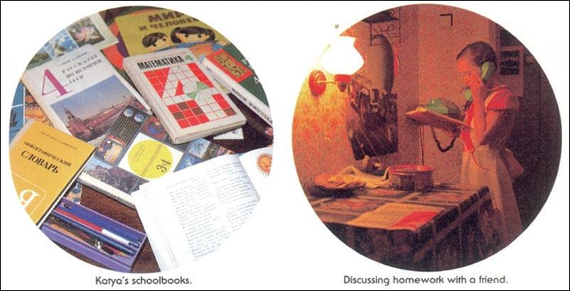 Слева: Катины учебники. Справа: обсуждение домашней работы с одноклассницей.