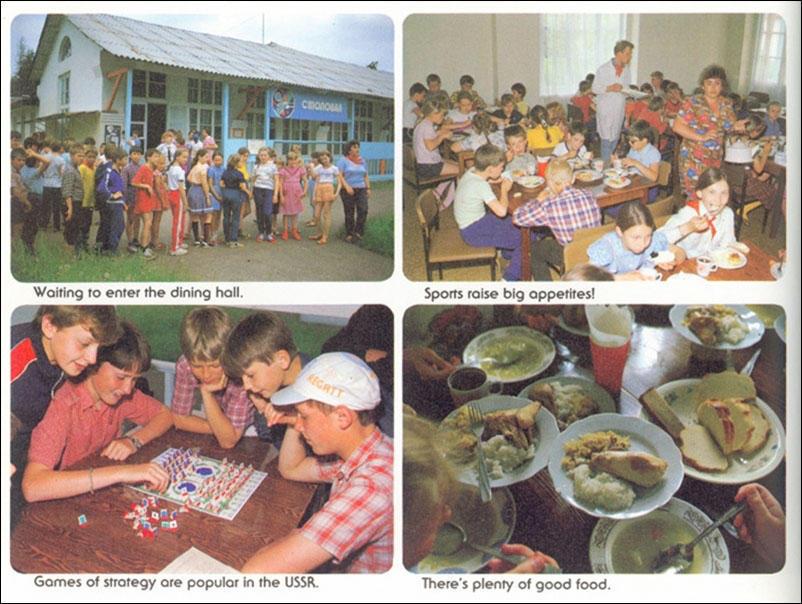 По часовой стрелке, начиная с верхней левой картинки: перед обедом; спорт повышает аппетит; еды много, и все блюда вкусные; головоломки популярны в СССР.