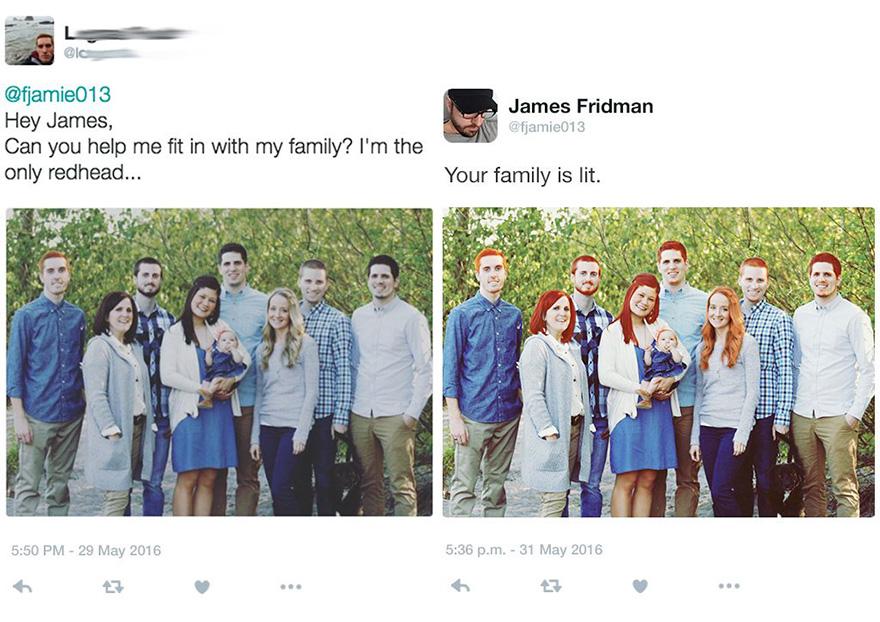 Просьба: «Можешь сделать так, чтобы я не выделялся на фоне своей семьи? Я единственный рыжий». Выполнено.