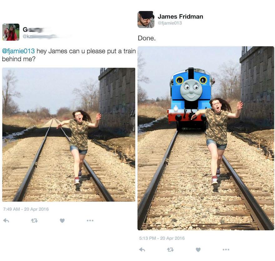 «Помести поезд позади меня».