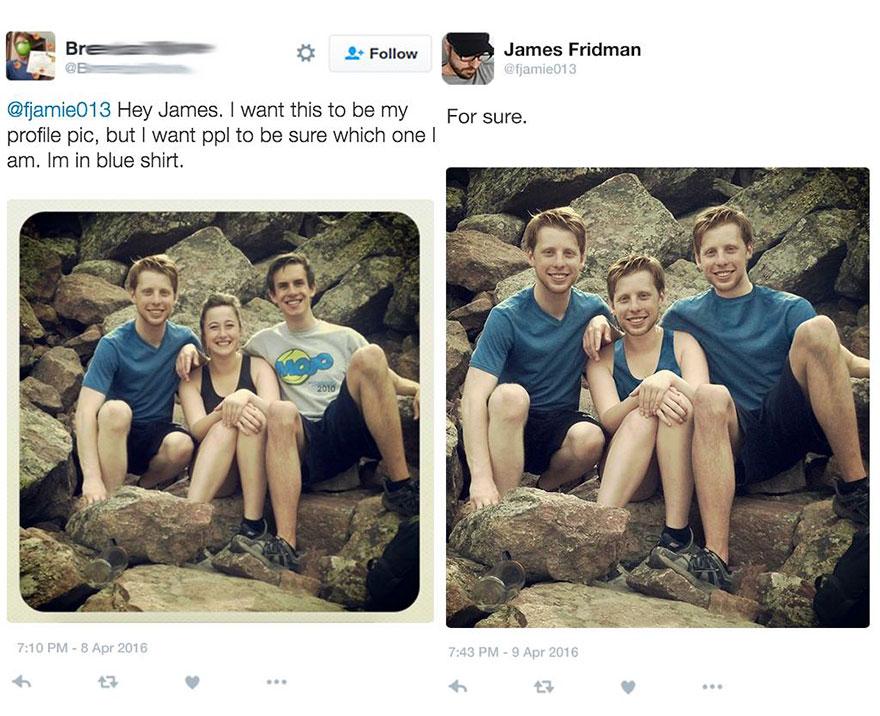 «Хочу поставить эту фотку на аватарку. Но чтобы все сразу понимали, кто из троих я (в голубой футболке)».
