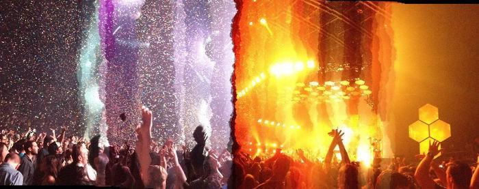 1. «Делал панорамный снимок во время концерта, но в процессе свет изменился, и вот результат!»