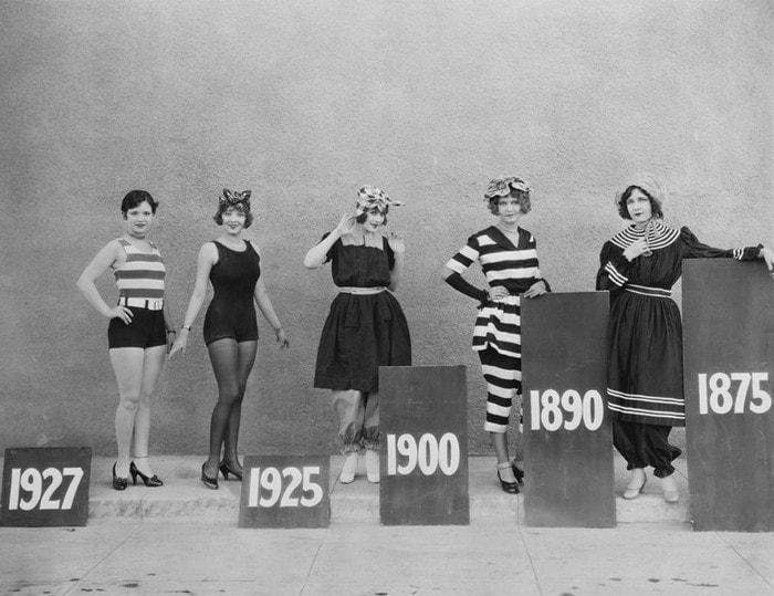 4. Эволюция женского купальника с 1875 по 1927 год