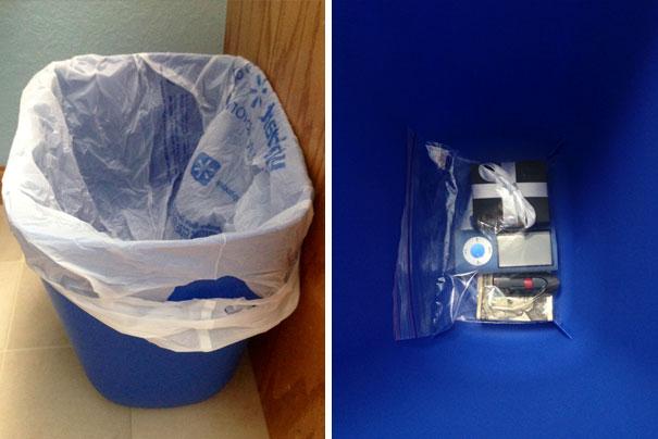 Что-то можно положить под мусорным пакетом в ведре и никто не заглянет