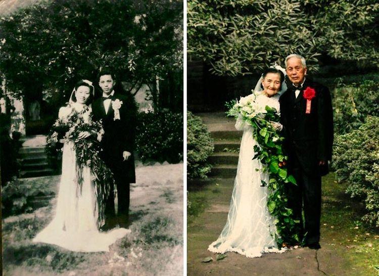 Эта пара воссоздала свою свадебную фотографию спустя 70 лет