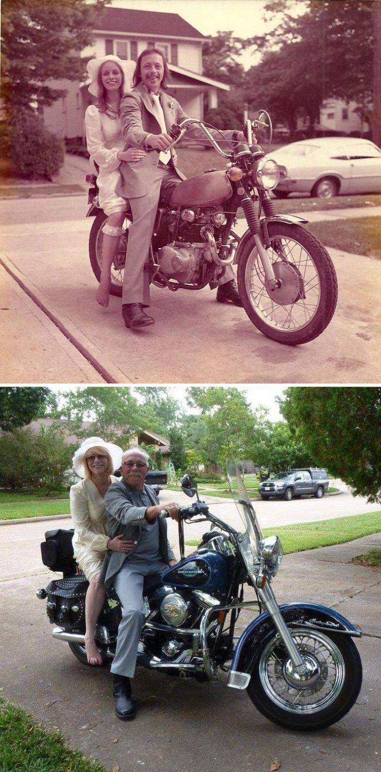 Эта пара решила отпраздновать 40-ю годовщину их свадьбы воссозданием их свадебной фотографии 1975 года