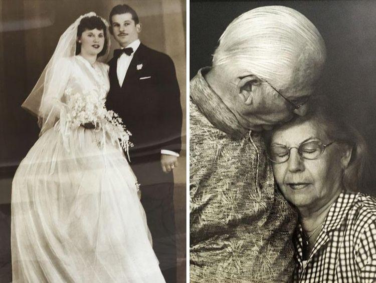 Пара в день их свадьбы и 69 лет спустя