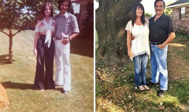 Мои родители и их дерево в 1975 году и в 2016