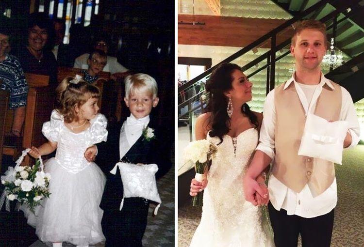 Цветочная девочка и мальчик с кольцами (1995 год) и счастливые молодожёны спустя 20 лет