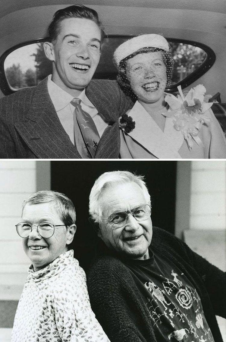 «Мои бабушка и дедушка в день их свадьбы, и одна из последних фотографий, где они вместе, прежде чем она умерла»