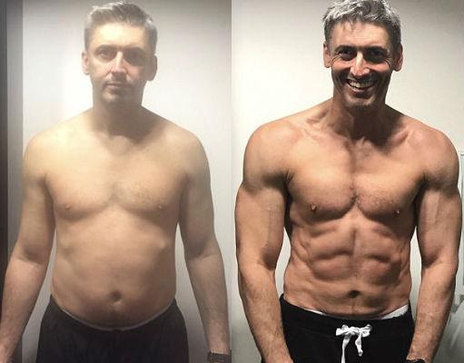 На фото: слева — начало тренировок, справа — спустя 12 недель