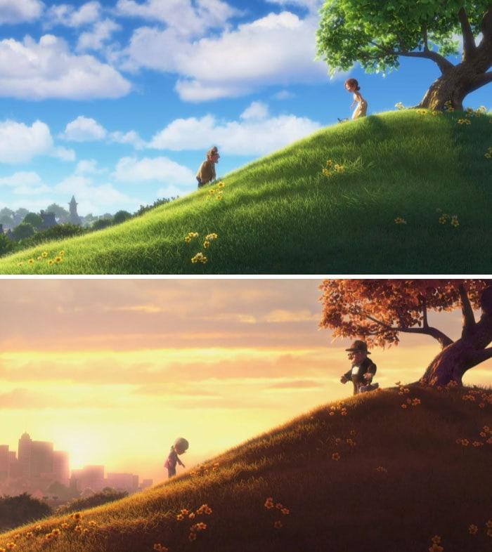 8. В мультфильме «Вверх» строения города на заднем плане со временем заметно изменились