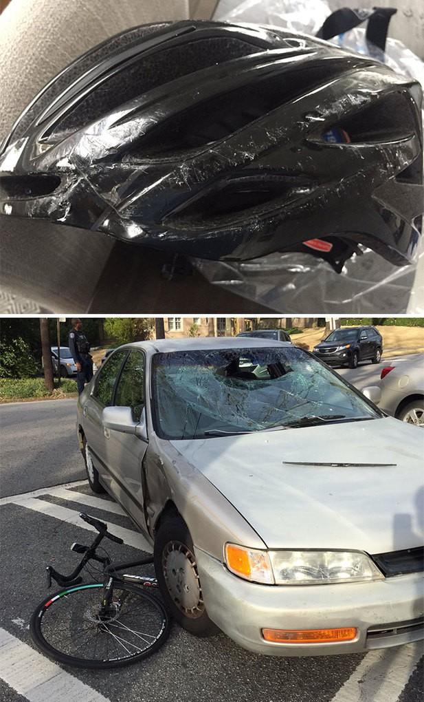 5. Велосипедист столкнулся с автомобилем и упал на лобовое стекло