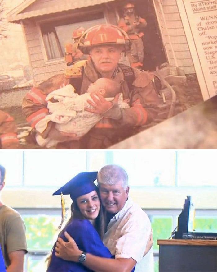 6. Девушка пригласила на выпускной пожарного, который спас её 17 лет назад