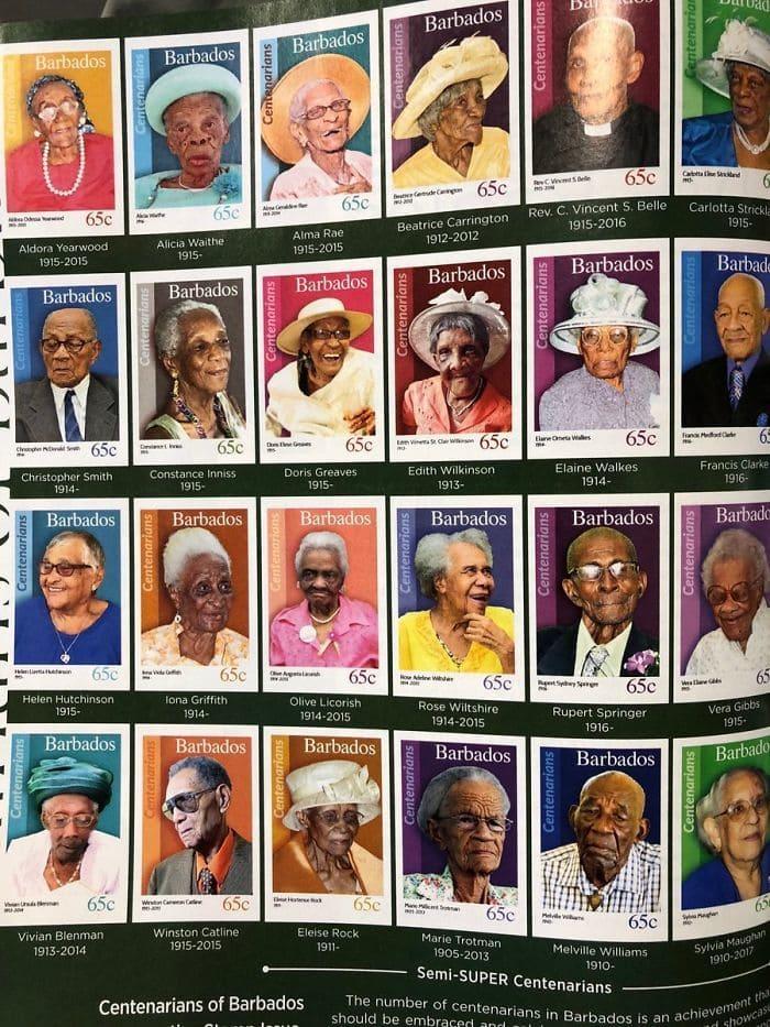 10. Когда гражданину Барбадоса исполняется 100 лет, в честь него выпускают почтовую марку