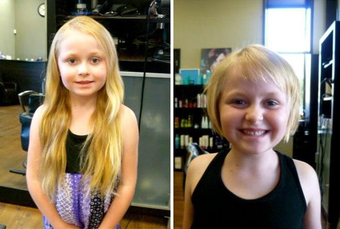 16. «Моя шестилетняя дочь пожертвовала свои волосы на парики больным детям»