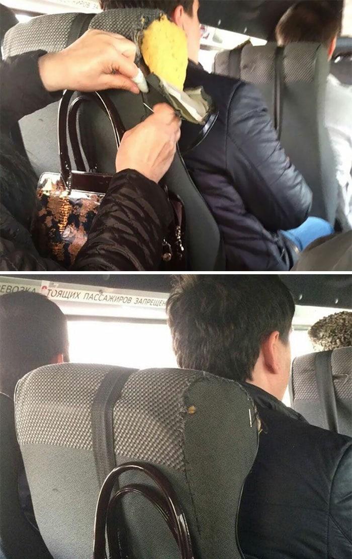 17. Пока женщина ехала в автобусе, она успела зашить порванное сиденье