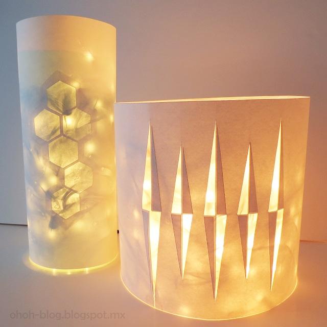 Если к бутылке добавить бумажный чехол с прорезями, получаем абажур для светодиодной лампы
