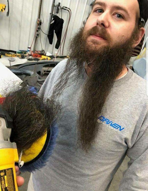 21. «Теперь этот парень знает, что диск для полировки — быстрый, но не самый приятный способ подстричь бороду»