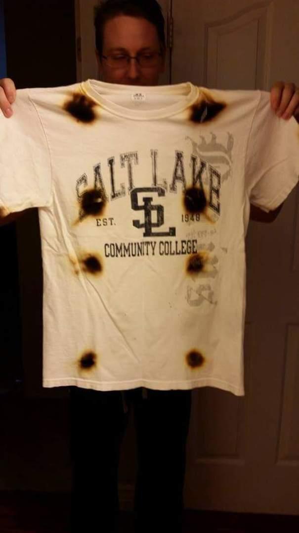 25. «Муж хотел высушить футболку в микроволновке»