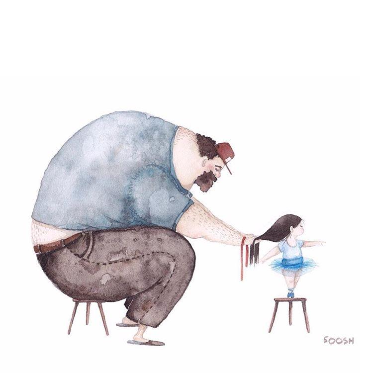 Для пап не существует ничего невозможного. Они даже могут научиться заплетать косички.