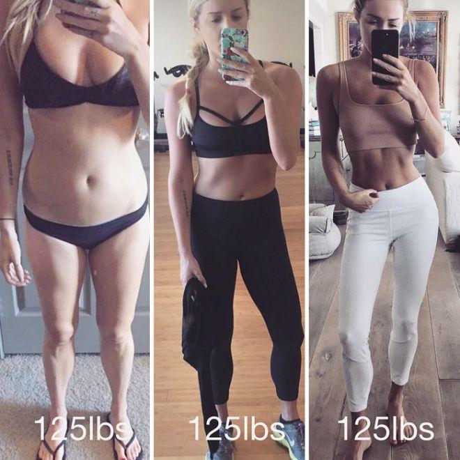 2. Не стоит думать, что для стройности и подтянутости необходимо голодать – нужно укреплять мышцы. Подкачав ягодицы и накачав пресс, можно добиться весьма эффектной фигуры.
