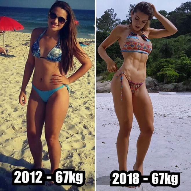 7. Часто тех, кто занимается спортом спрашивают о том, сколько они потеряли килограмм после своего увлечения фитнесом. То, что внешне постройневшие и подтянутые девушки не потеряли ни одного килограмма, у многих вызывает искреннее удивление.