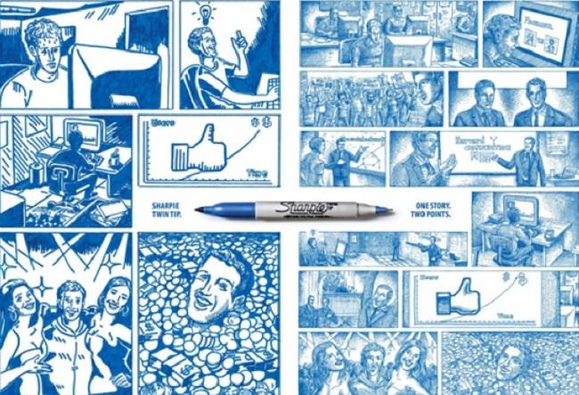 Одна история под разными углами видна с помощью двусторонней ручки Sharpie
