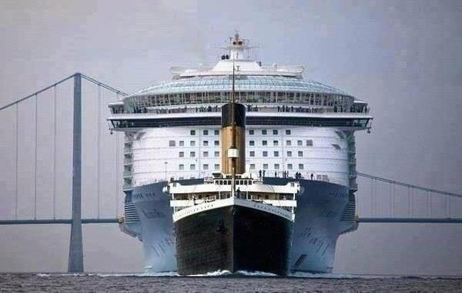 «Титаник» в сравнении с современным круизным лайнером