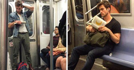 Читающие красавчики в метро
